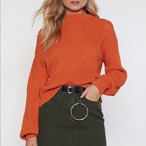 NASTY GAL | Orange Knit Cable Sweater Size M/L